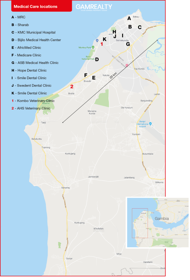 Main Healthcare facilities maps of the gambia