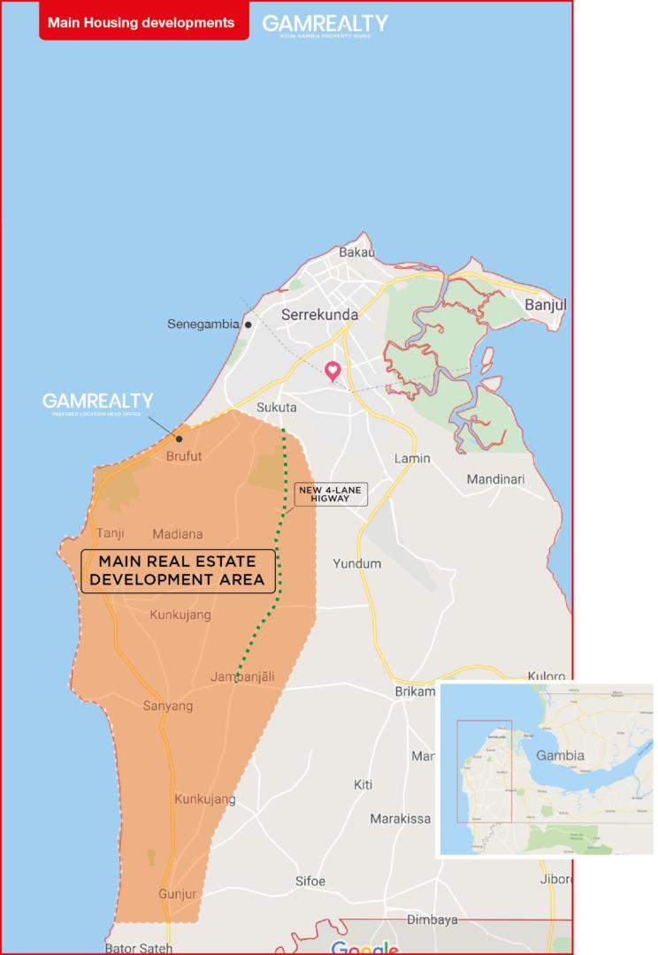 Main Housing Development Map of The Gambia