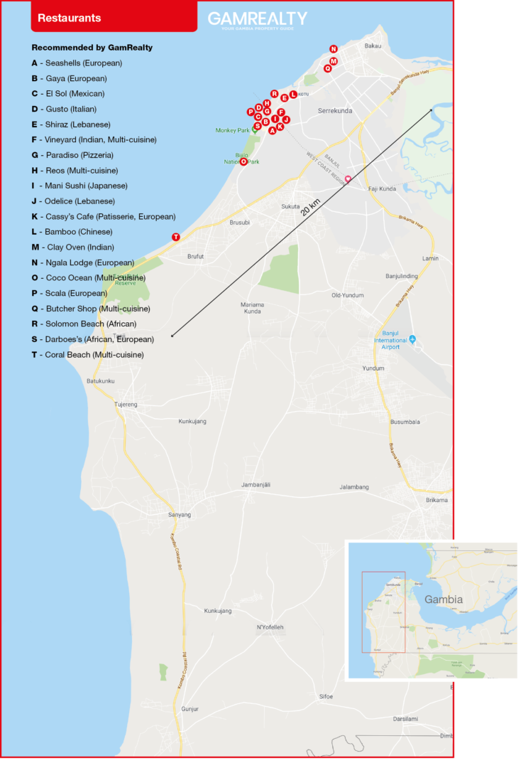 Restaurants maps of the gambia