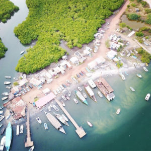 Coast side view from the sky in Gambia